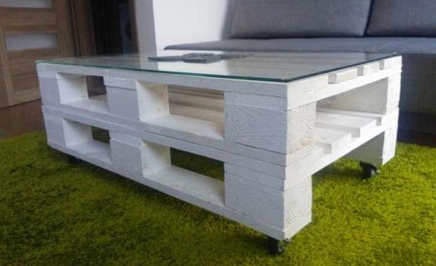 Möbel  Doppel Paletten Couchtisch in weiß 120x60x3cm