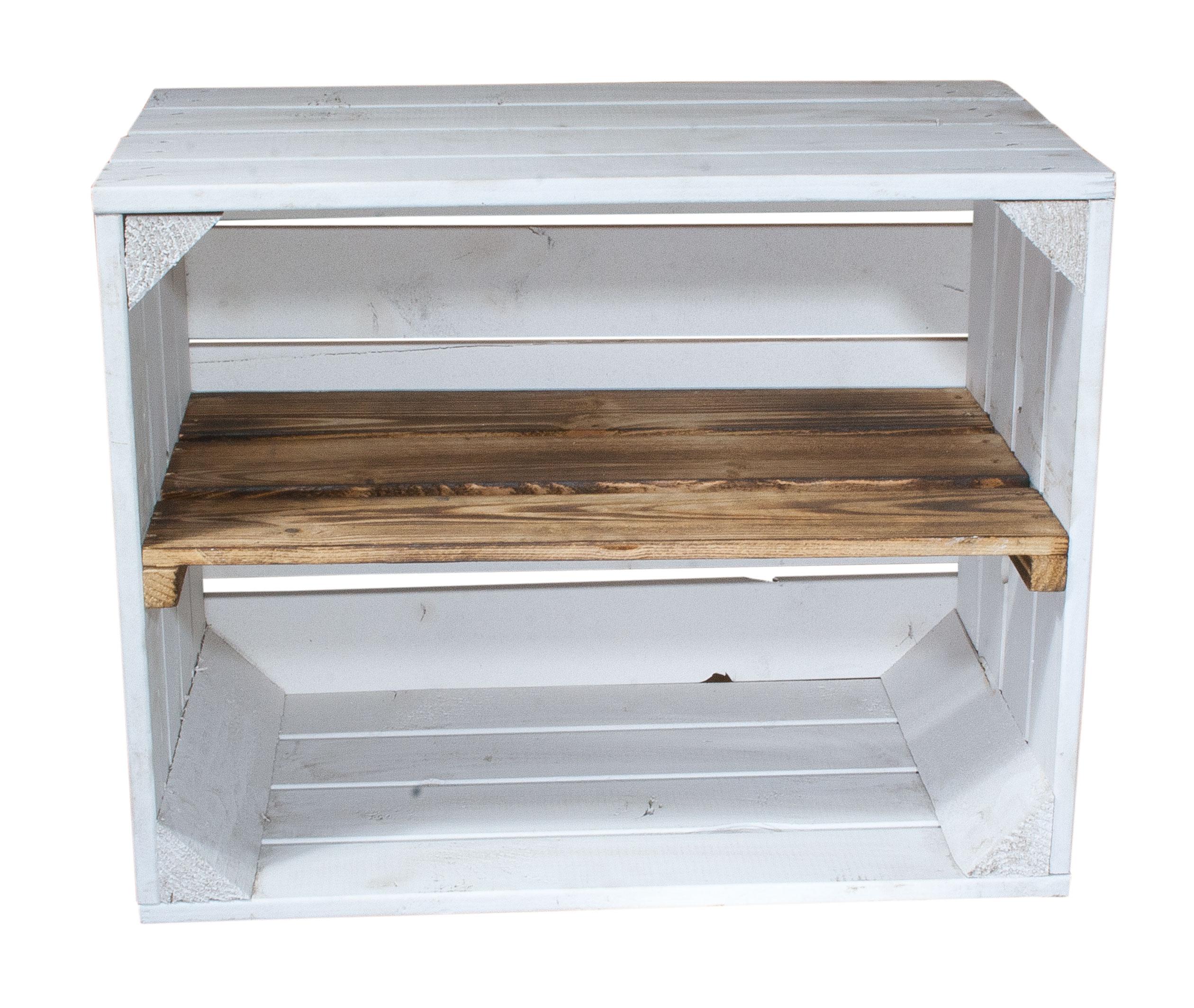 bestseller wei e holzkiste mit geflammtem mittelbrett l ngst 50x40x30cm. Black Bedroom Furniture Sets. Home Design Ideas