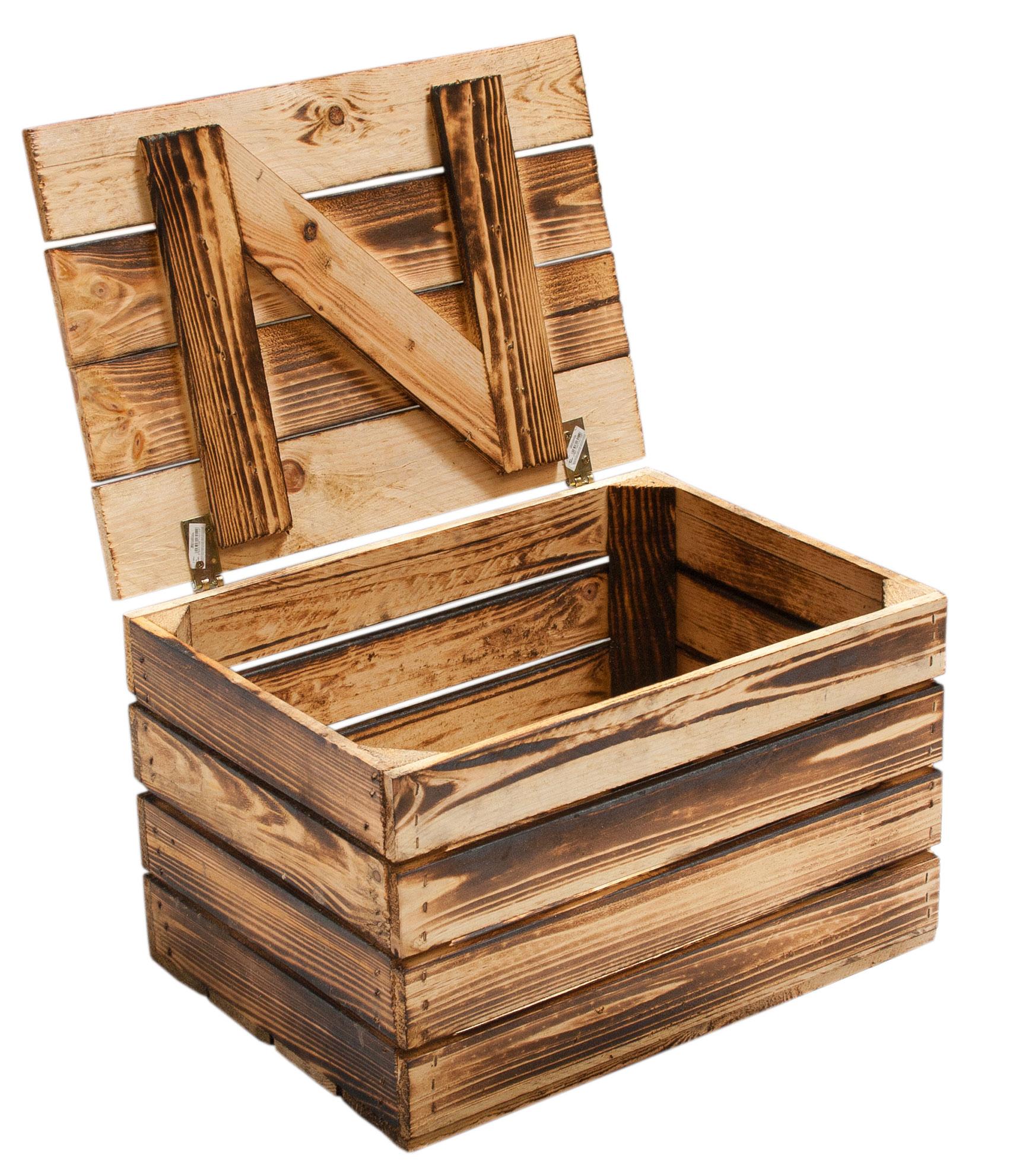 m bel truhen neue holztruhe geflammt klein 50x36x31cm. Black Bedroom Furniture Sets. Home Design Ideas