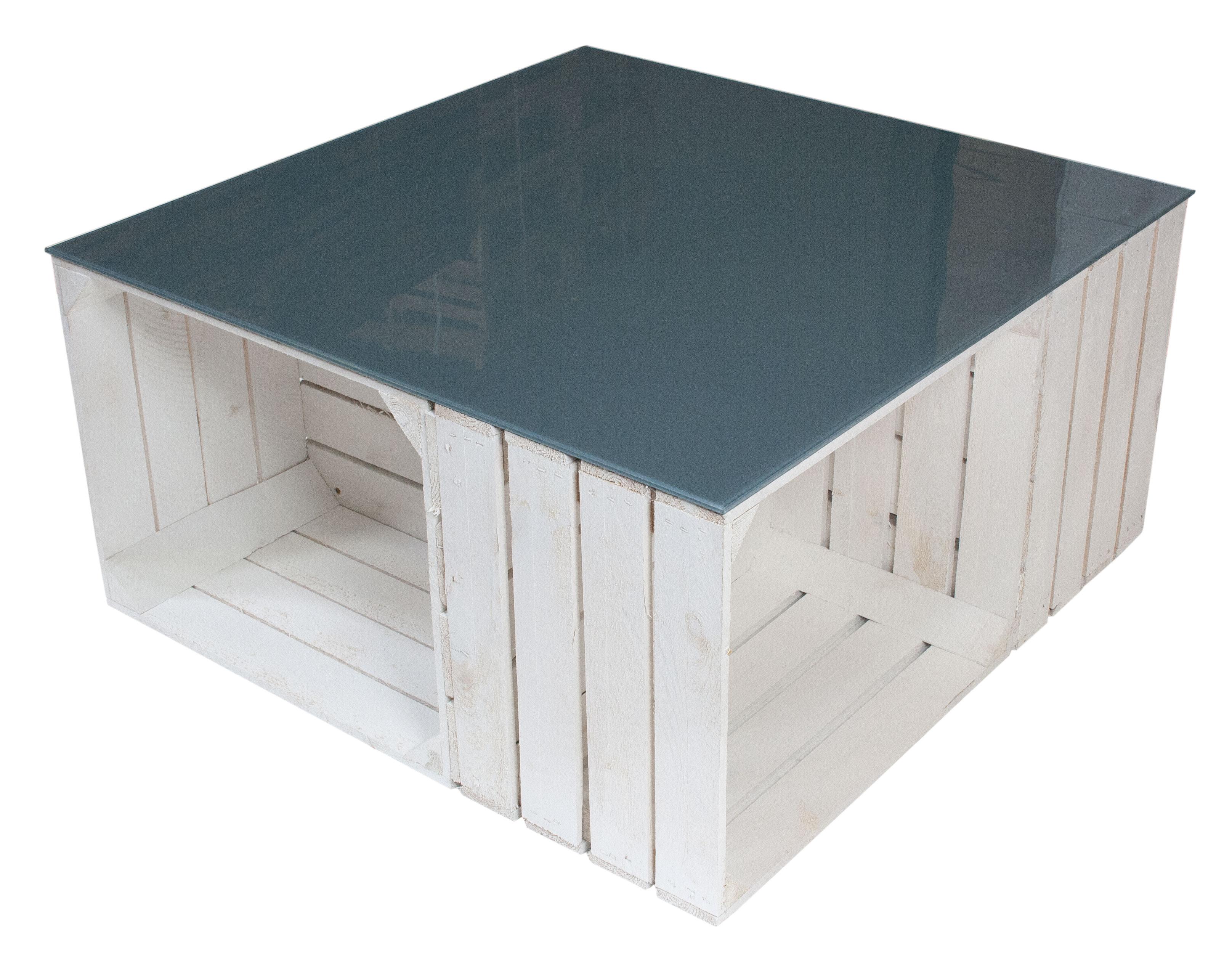 Möbel  Couchtisch aus weißen Apfelkisten auf Rollen inkl