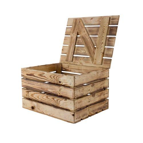 Holztruhen Mit Deckel Geflammte Kiste Mit Deckel Aus Holz 48x36x28cm Allzweckkiste Im Garten Dem Balkon Oder Drinnen Viel Platz Fur Sachen