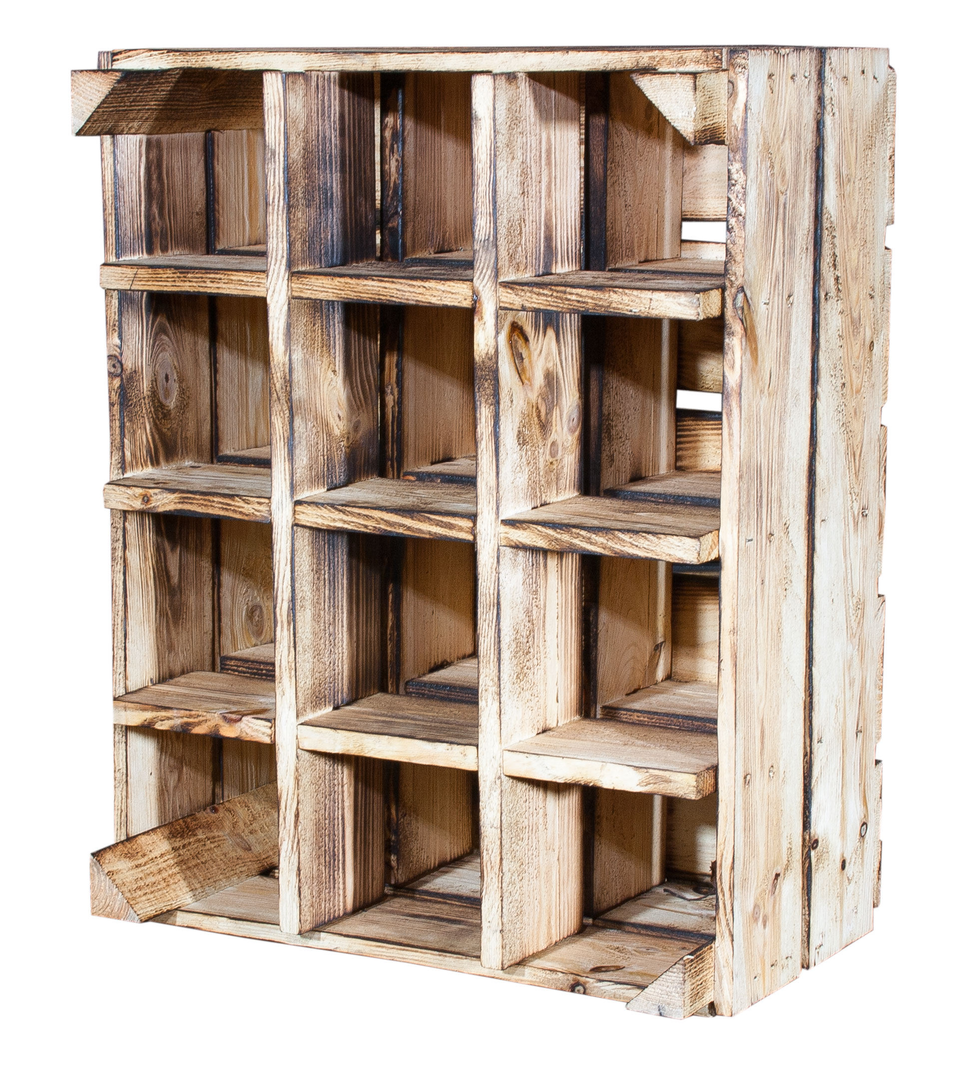 geflammte kisten weinflaschenregal geflammt 50x40x23cm. Black Bedroom Furniture Sets. Home Design Ideas