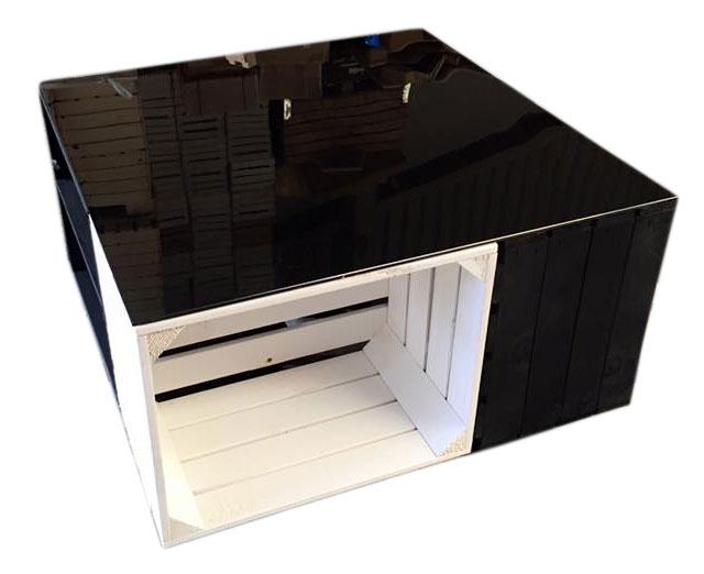 m bel moderner apfelkisten tisch schwarz wei mit. Black Bedroom Furniture Sets. Home Design Ideas