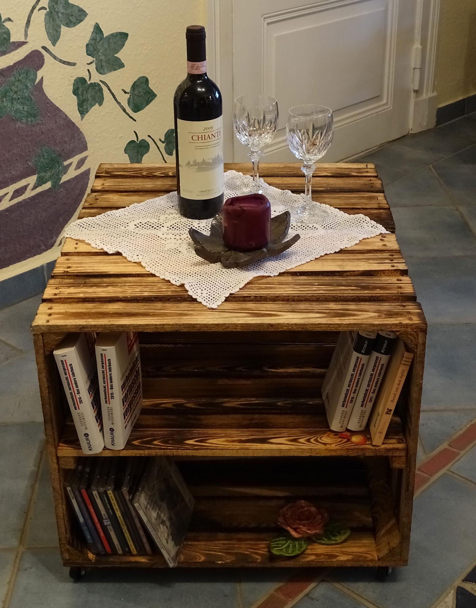 m bel beistelltisch aus zwei geflammten schuhkisten. Black Bedroom Furniture Sets. Home Design Ideas