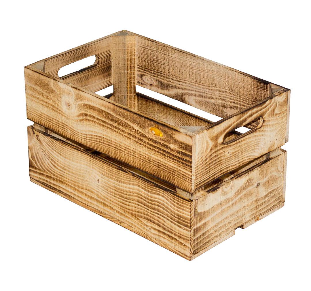 Flambiertes Holz: Geflammte Obstkiste mit 2 Brettern 49x30x28cm