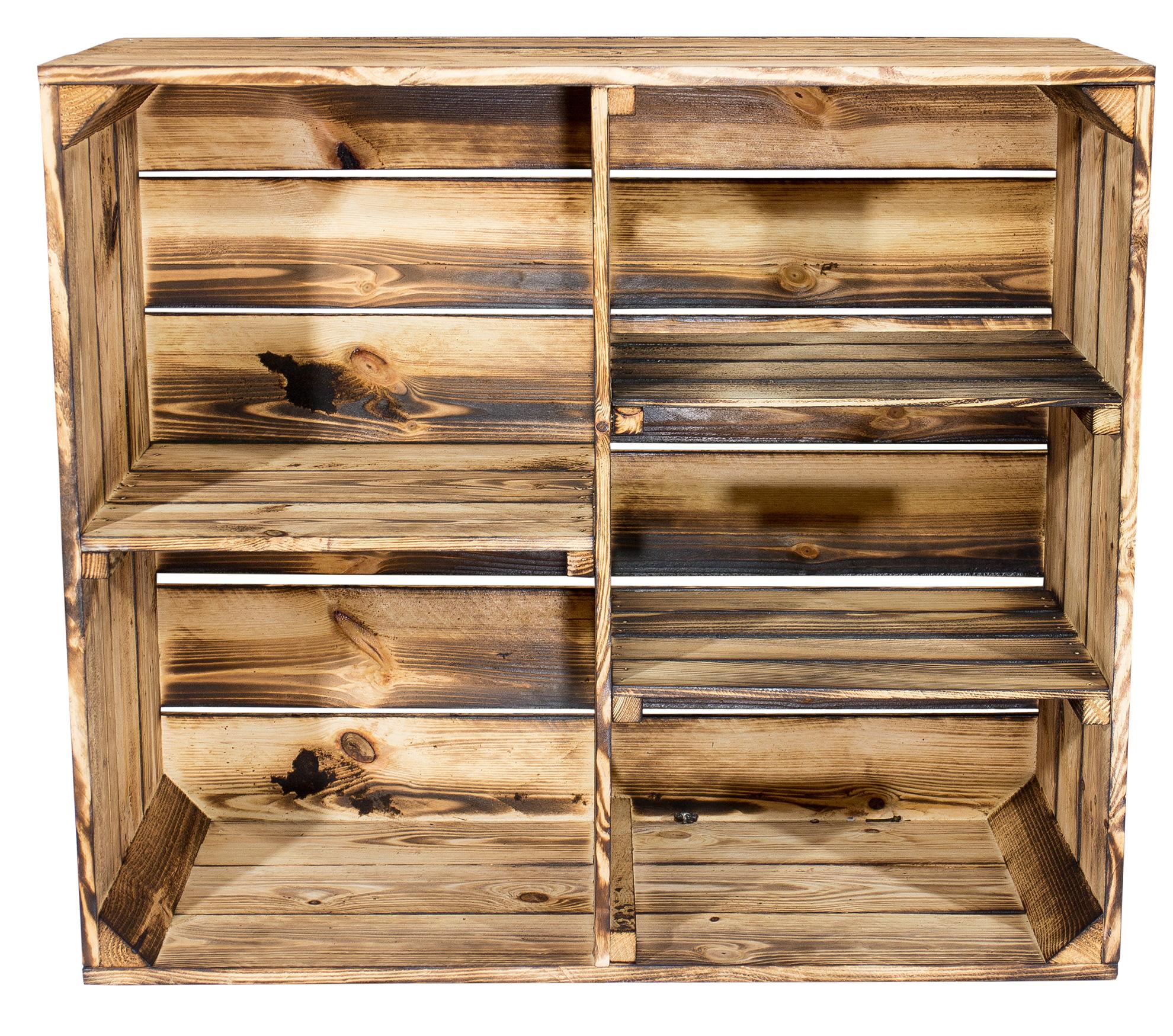 Flambiertes Holz: 3x Geflammter Holzschrank mit 3 Mittelbretter und ...