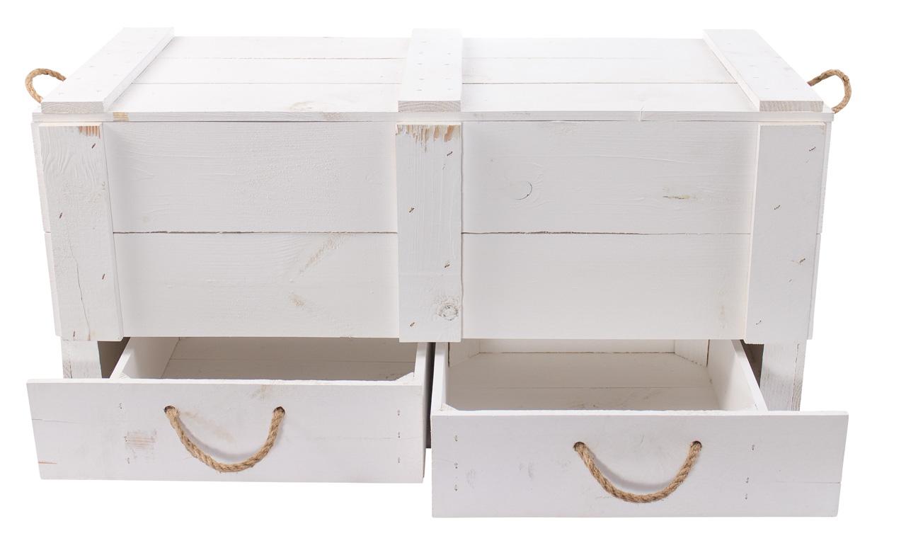 1x WEIßE TRUHENBANK mit Deckel 2 Schubladen //NEU// 85 x 39 x 40 cm  Stauraum