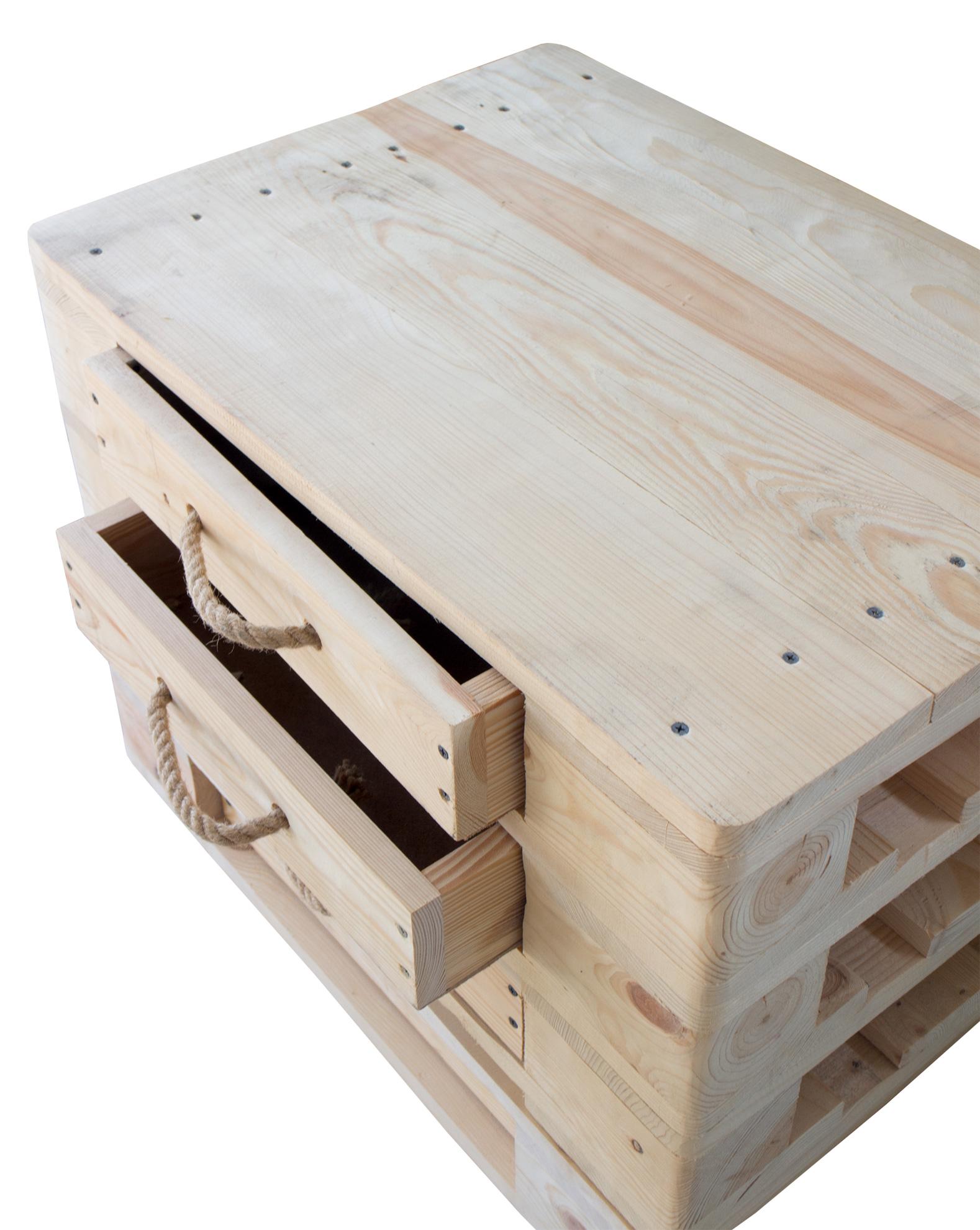 m bel kommode aus palettenholz in natur optik mit kordel 66x48x38cm. Black Bedroom Furniture Sets. Home Design Ideas