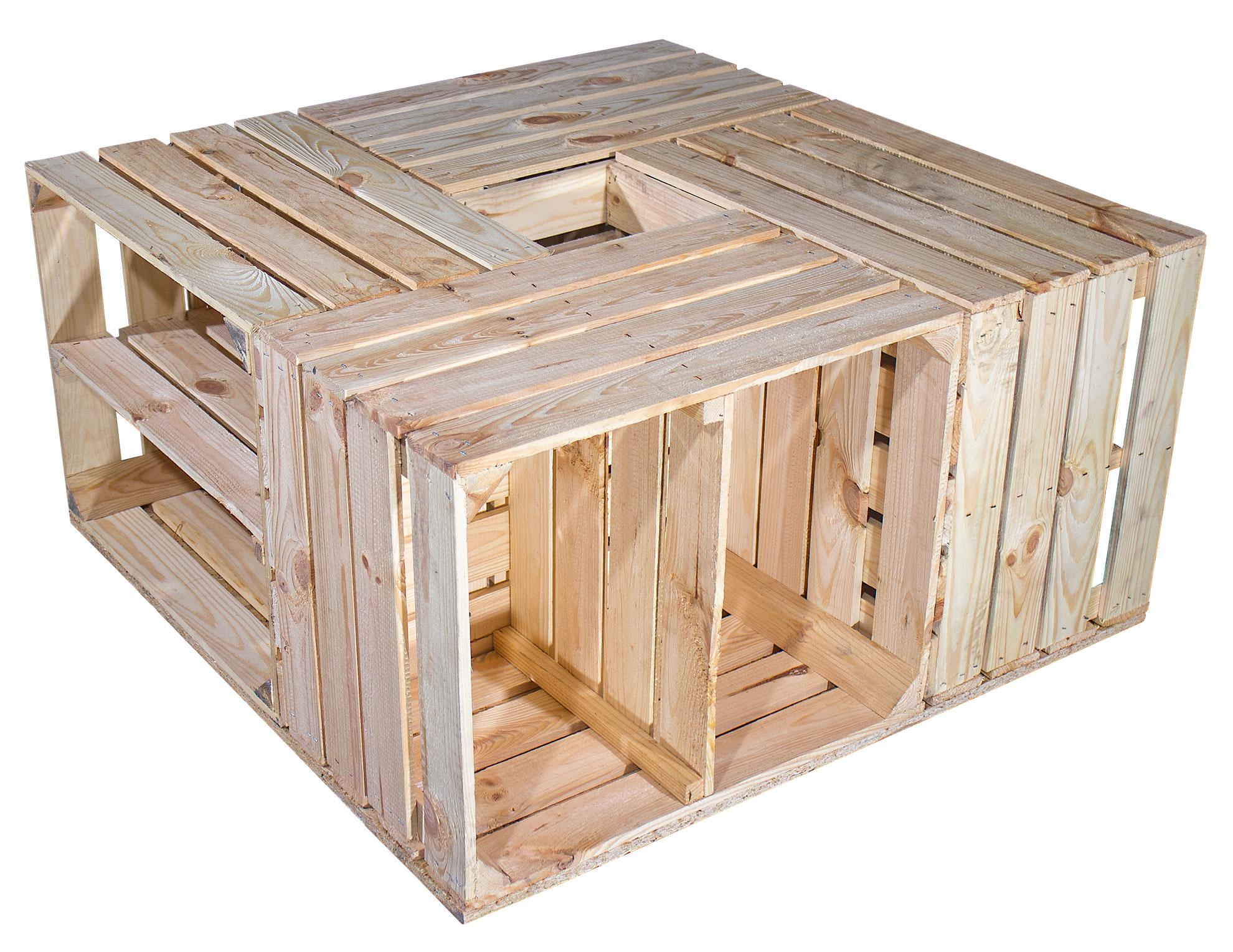 couchtische schreibtische tisch aus versch hellen schuhkisten 81x81x40cm. Black Bedroom Furniture Sets. Home Design Ideas