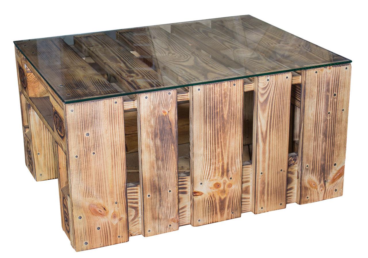 m bel vintage beistelltisch aus palettenholz und glasplatte 80x60x40 5cm. Black Bedroom Furniture Sets. Home Design Ideas