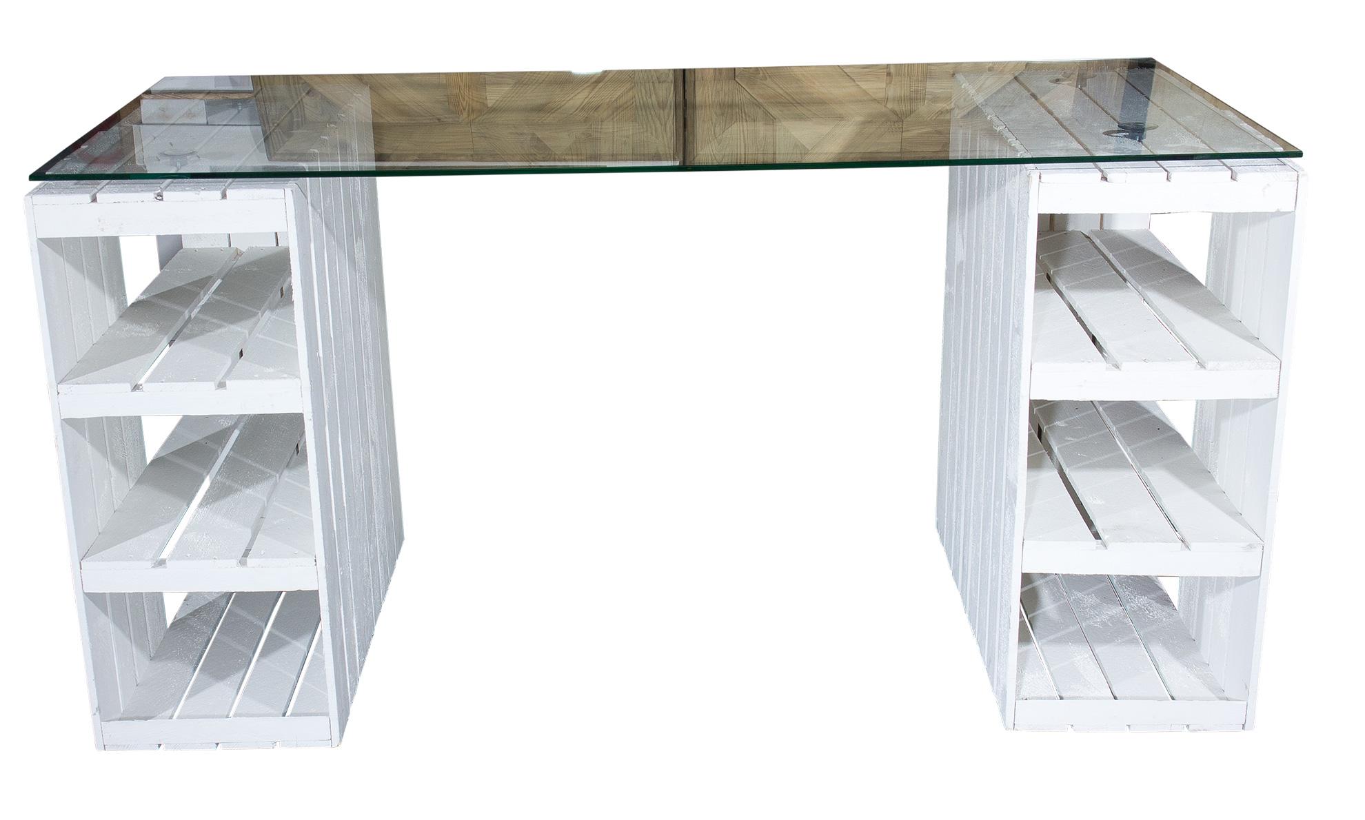 schreibtische shabby chic schreibtisch mit glasplatte 150x70x75cm. Black Bedroom Furniture Sets. Home Design Ideas