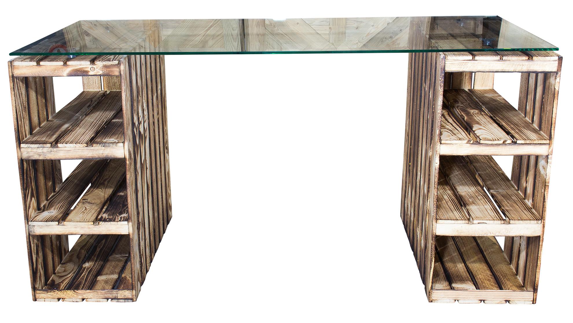 schreibtische schreibtisch mit geflammten holzkisten glasplatte 150x70x75cm. Black Bedroom Furniture Sets. Home Design Ideas