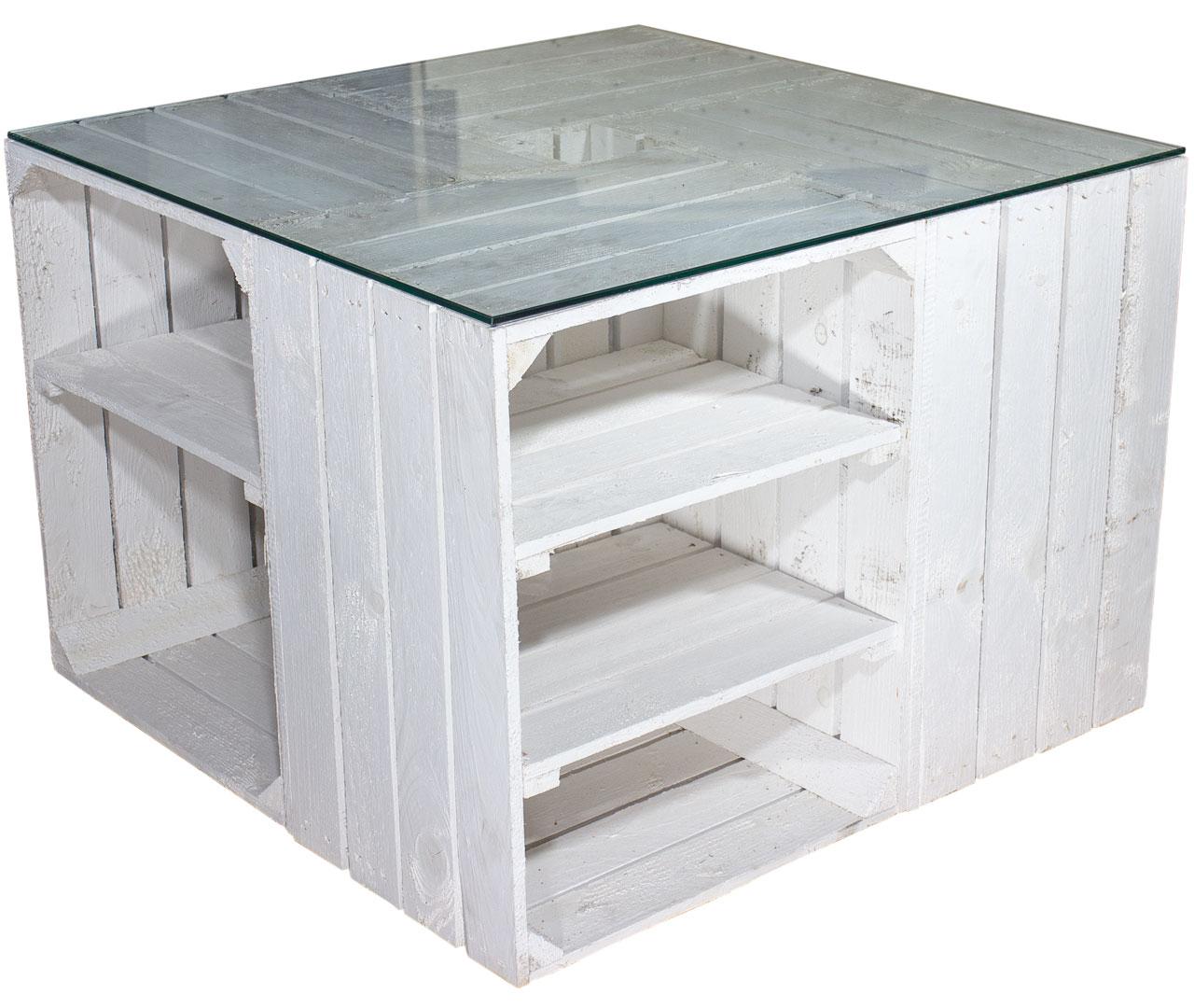 Weinkisten Shop möbel couchtisch aus weißen regalkisten inkl glasplatte 70x70x50cm