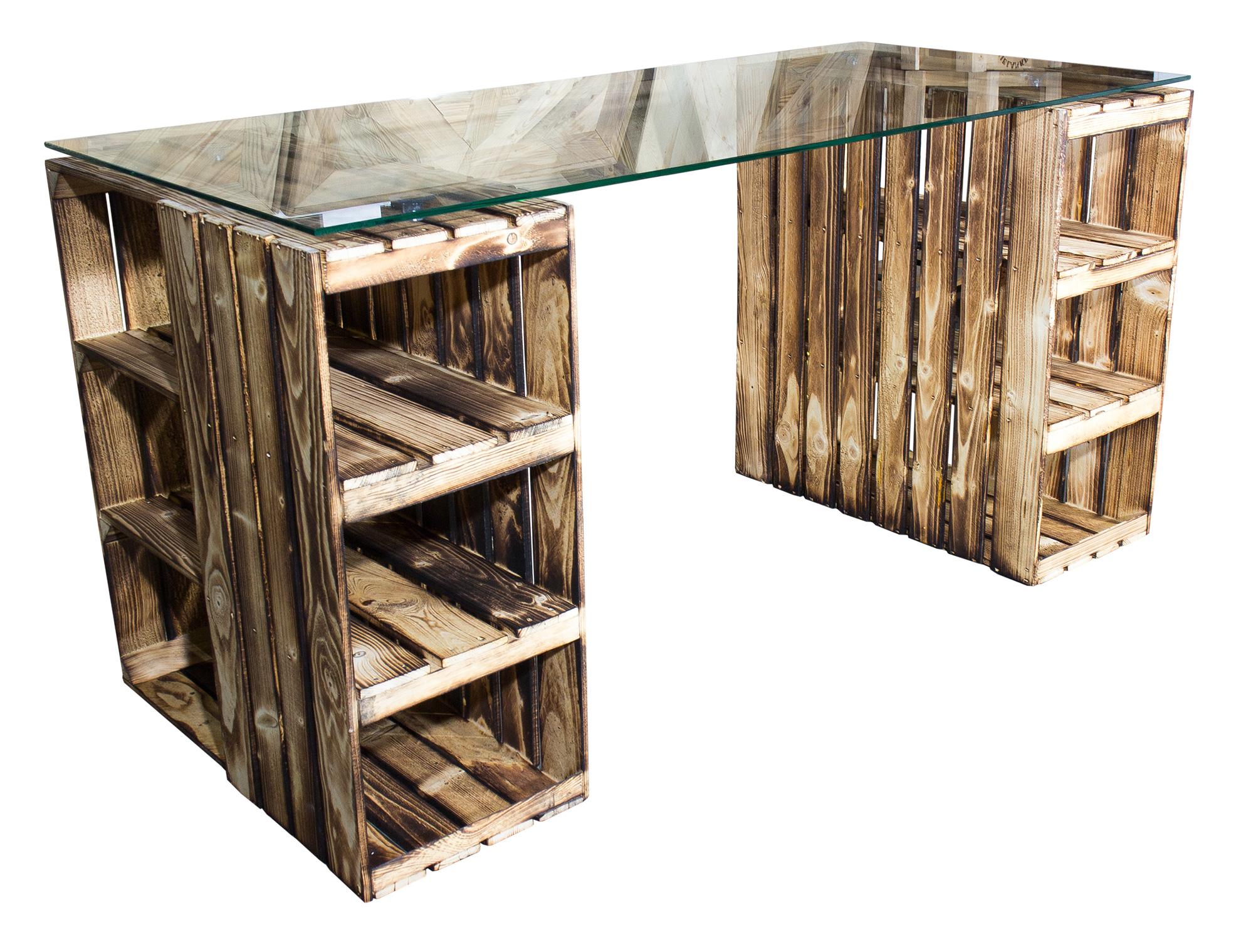 m bel schreibtisch mit geflammten holzkisten glasplatte 150x70x75cm. Black Bedroom Furniture Sets. Home Design Ideas