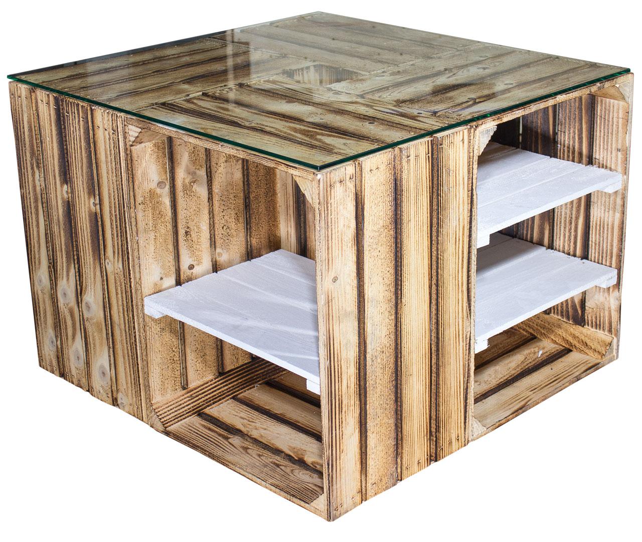 tischvariationen couchtisch aus geflammten regalkisten inkl glasplatte 70x70x50cm. Black Bedroom Furniture Sets. Home Design Ideas