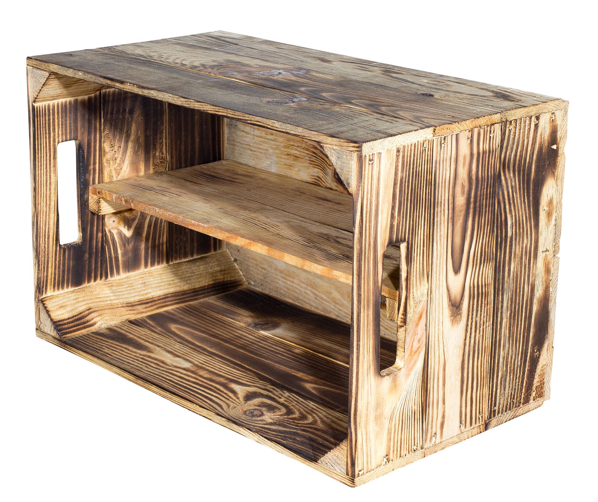 geflammte kisten geflammte birnenkiste mit mittelbrett. Black Bedroom Furniture Sets. Home Design Ideas