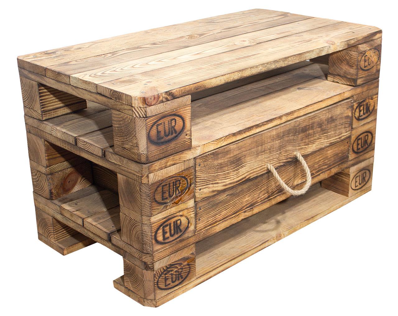 m bel vinterior kommode aus geflammten palettenholz 90x52x49cm. Black Bedroom Furniture Sets. Home Design Ideas