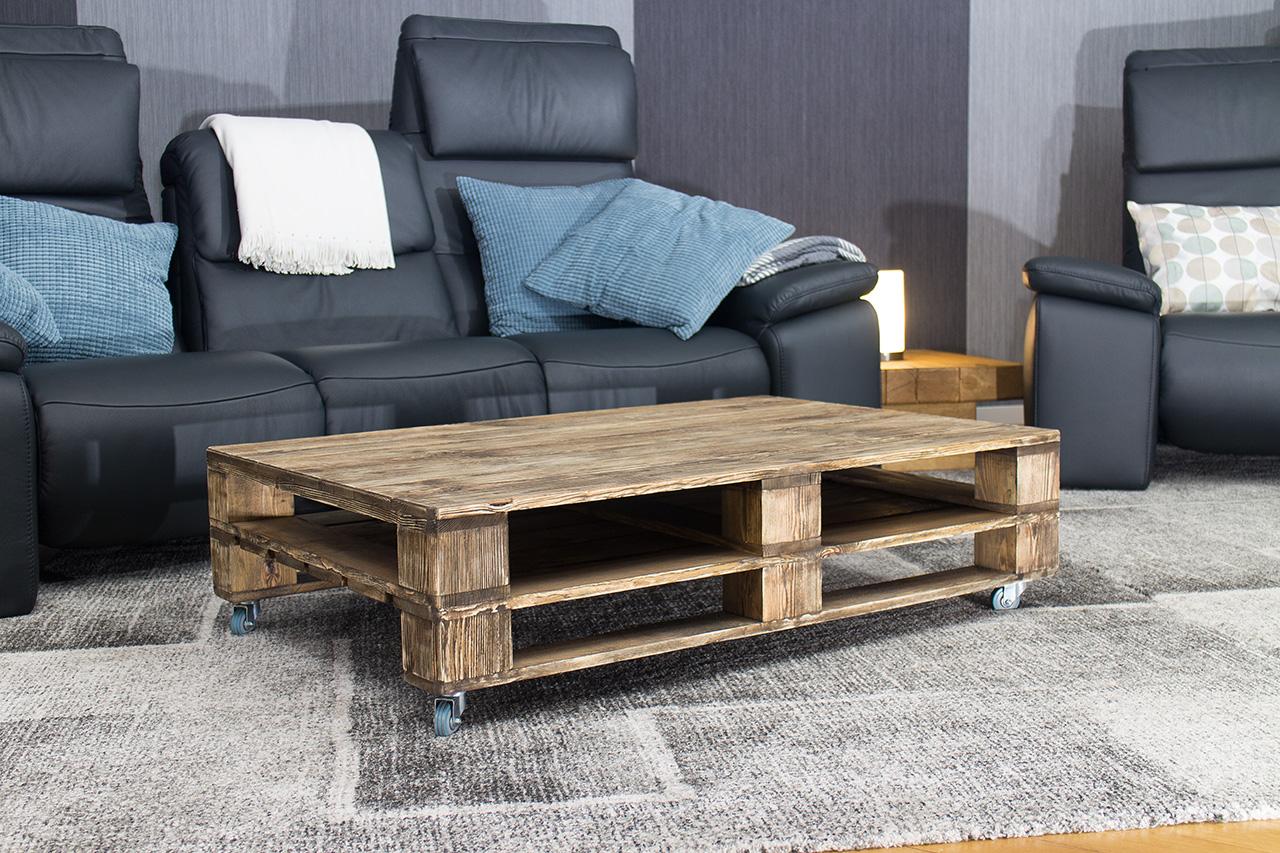 m bel couchtisch aus palettenholz im used look auf rollen 120x80cm. Black Bedroom Furniture Sets. Home Design Ideas