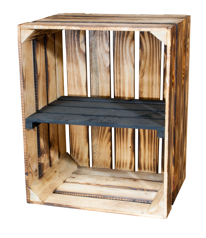 Caja de estantes: caja de madera flameada con tablero central negro ...