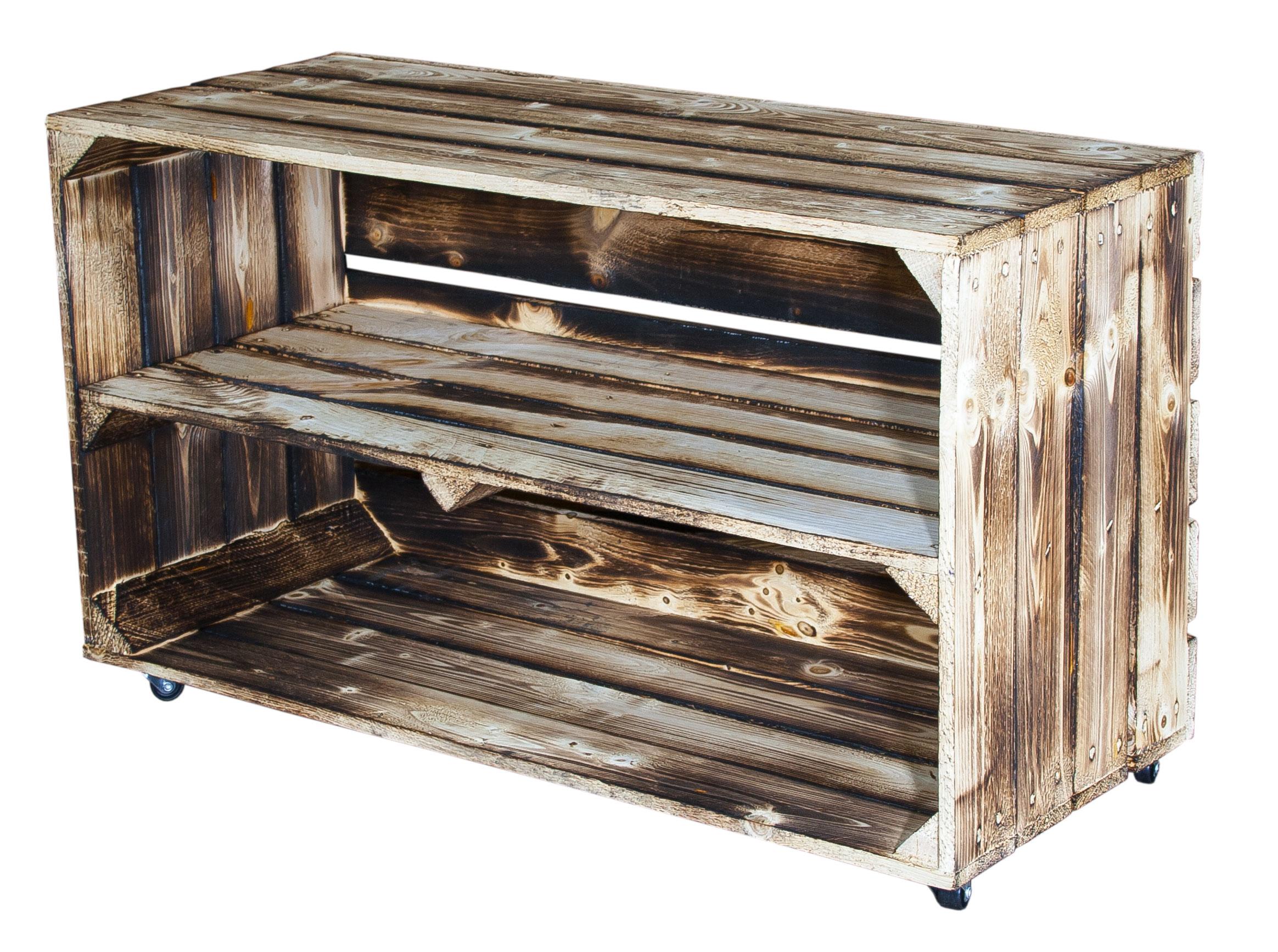 geflammte kisten gro e geflammte holzkiste mit mittelbrett auf rollen 74 5x40 5x31cm. Black Bedroom Furniture Sets. Home Design Ideas
