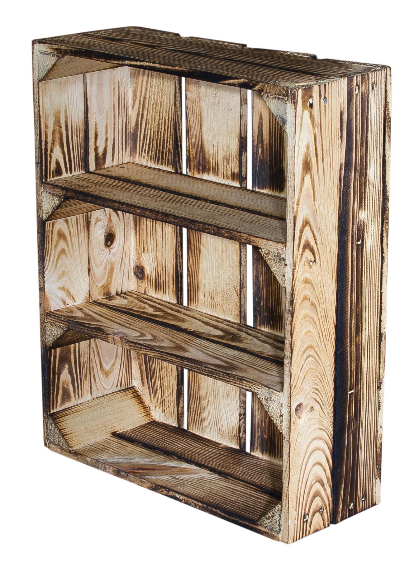 regalkisten regalkiste flach mit 3 f chern geflammt 50x40. Black Bedroom Furniture Sets. Home Design Ideas