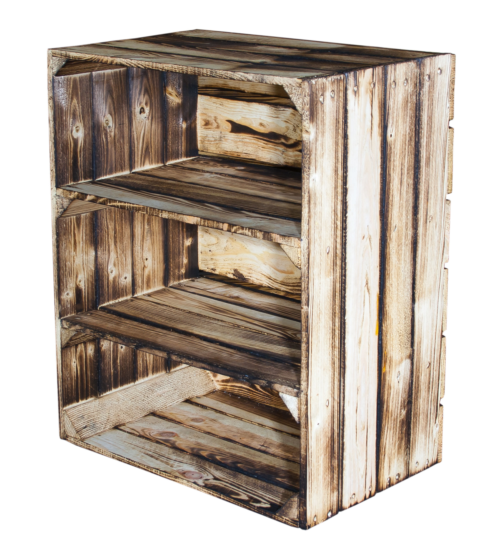 Weinkisten Shop flamed boxes regalkiste high with 3 compartments flamed 61x50x31cm