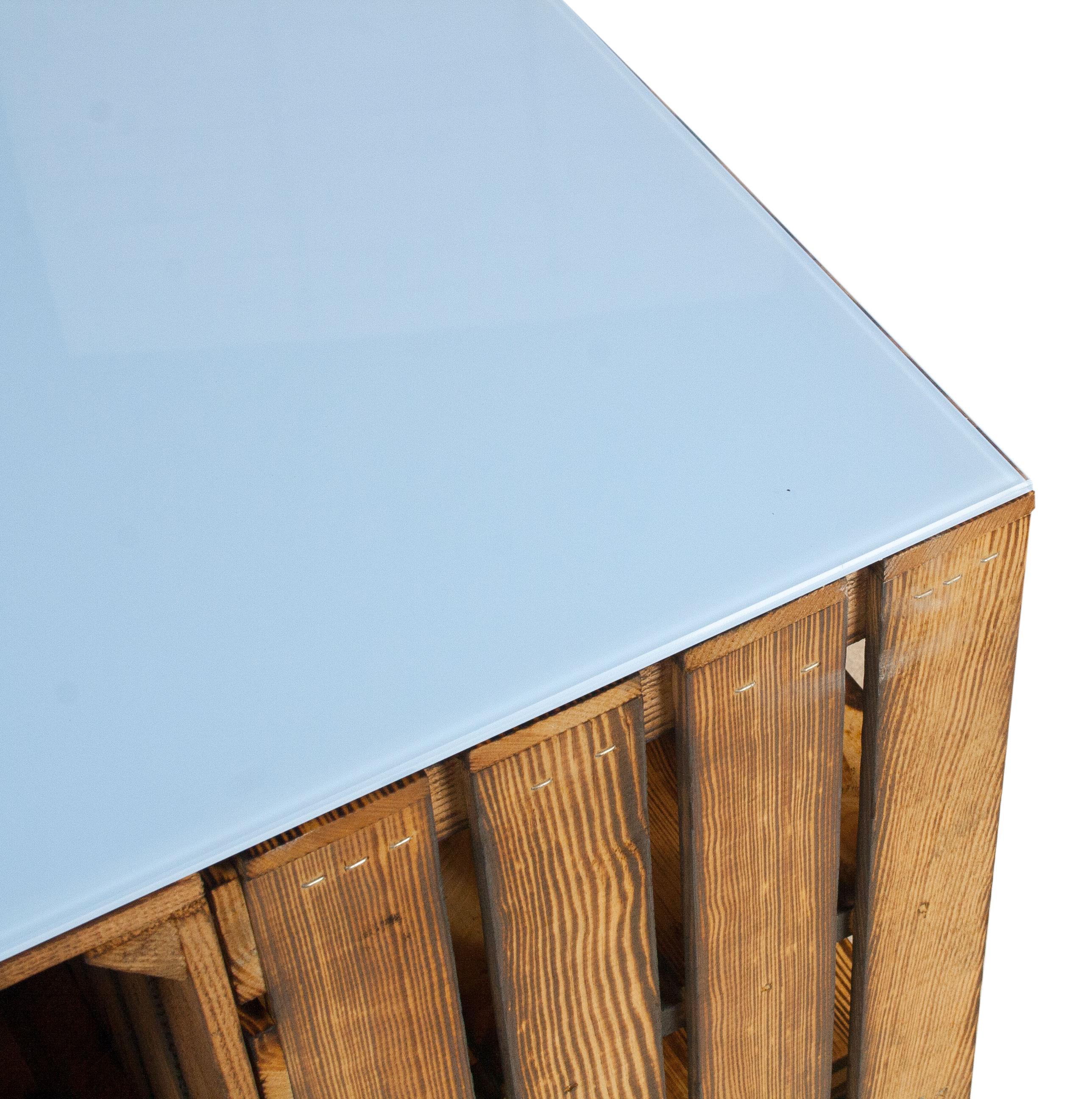 m bel geflammter couchtisch aus apfelkisten mit rollen inkl hellblauer glasplatte 81x81x44cm. Black Bedroom Furniture Sets. Home Design Ideas