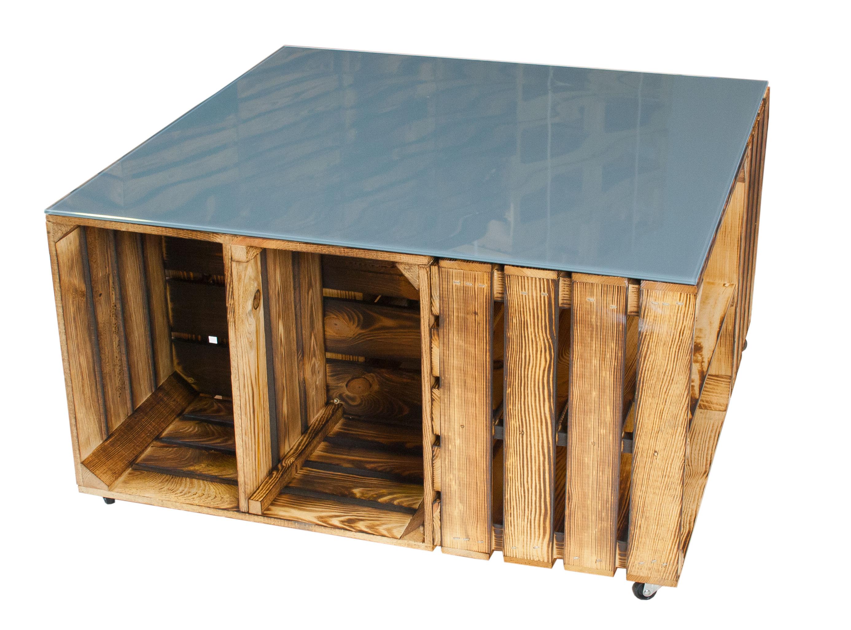 geflammter couchtisch aus apfelkisten mit rollen inkl grauer glasplatte 81x81x44cm. Black Bedroom Furniture Sets. Home Design Ideas