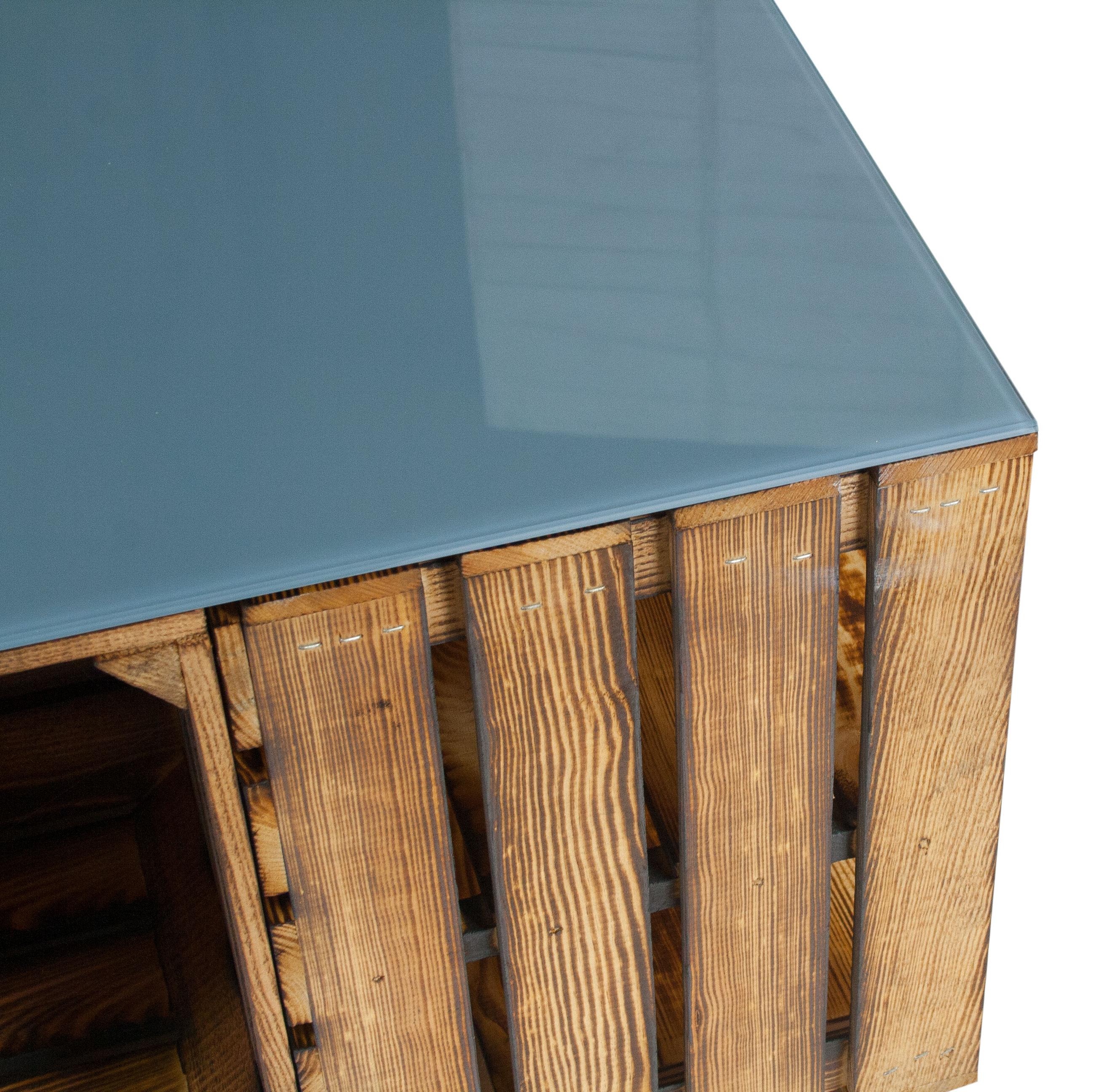 m bel geflammter couchtisch aus apfelkisten mit rollen inkl grauer glasplatte 81x81x44cm. Black Bedroom Furniture Sets. Home Design Ideas