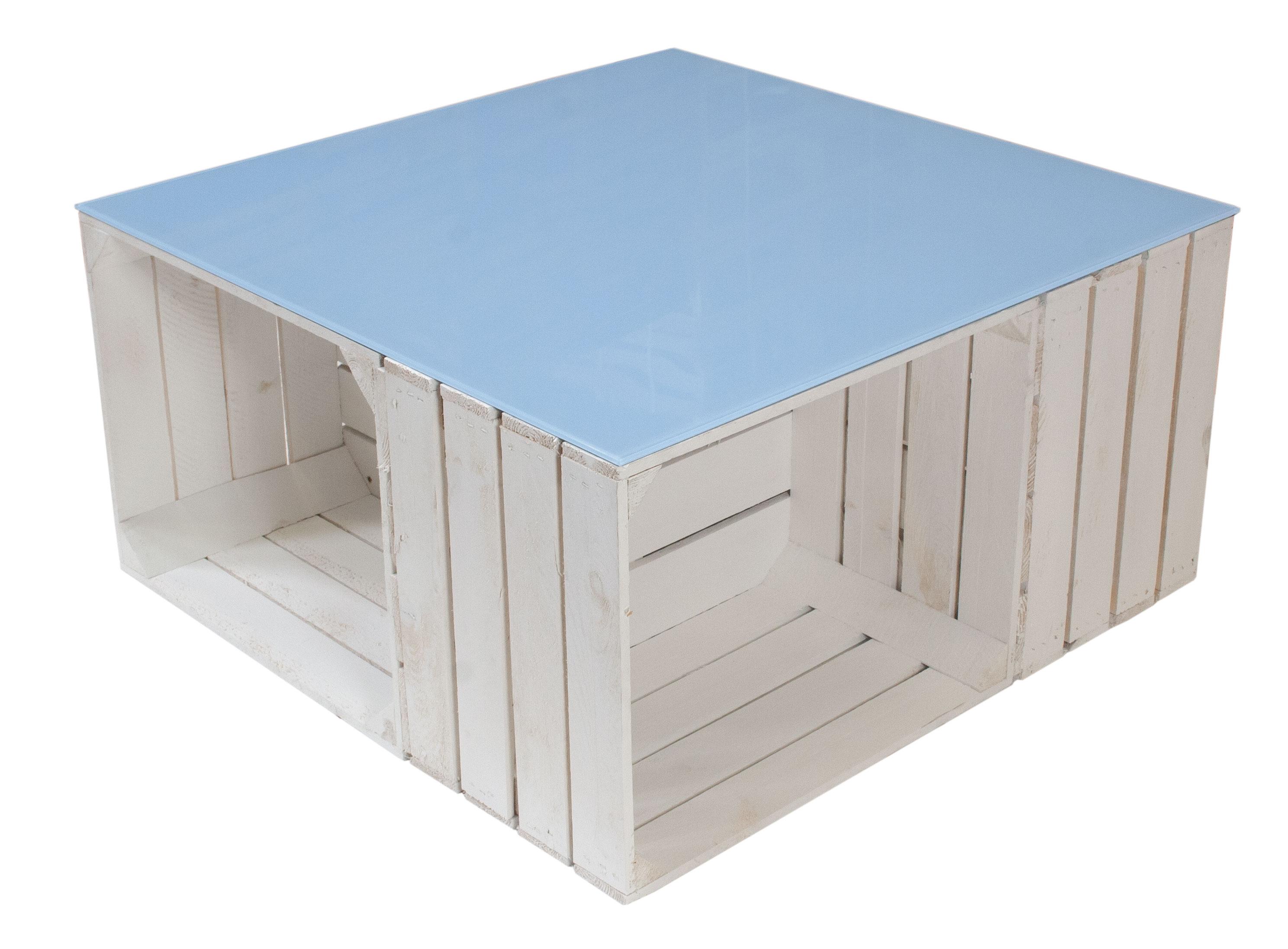couchtische schreibtische couchtisch aus wei en apfelkisten und hellblauer glasplatte 81x81x44cm. Black Bedroom Furniture Sets. Home Design Ideas