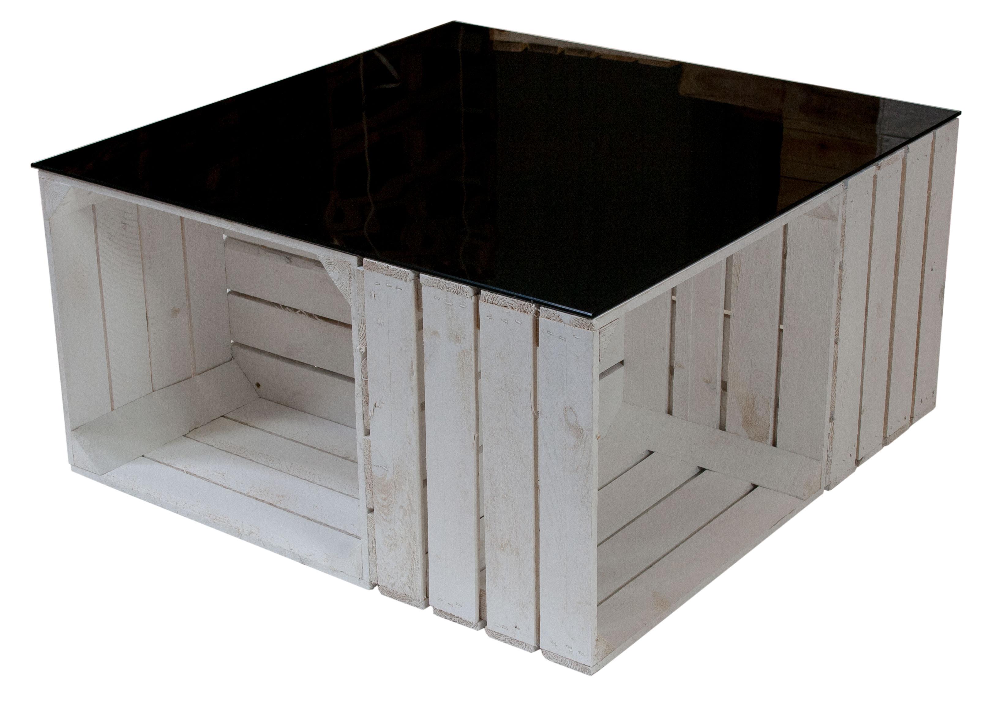 m bel couchtisch aus wei en apfelkisten auf rollen inkl schwarzer glasplatte 81x81x44cm. Black Bedroom Furniture Sets. Home Design Ideas